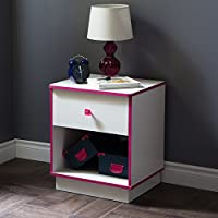 South Shore Logik 1-Drawer Night Stand, Pure White/Pink