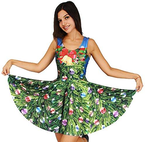 Skirt Spandex Reversible (Jescakoo Ugly Christmas Printed Casual Knee-Length Reversible Skater Dress for Women)