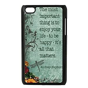 Audrey Hepburn Quotes Personalized Cover Case for Ipod Touch 4,customized phone case ygtg-781583