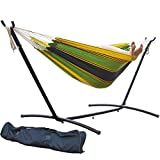 PG PRIME GARDEN 9' Double Hammock with Space Saving Steel Hammock Stand, Elegant Meadow Stripe