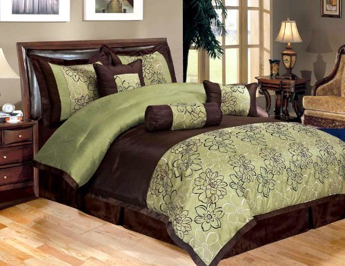 Attractive Sage Green and Brown Comforter and Bedding Sets HL19