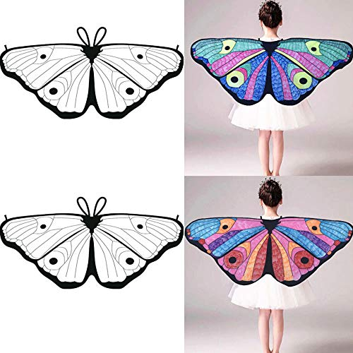 HHei_K Kids Girls Creative DIY Dress up Party Costume Self-Coloring Butterfly Cape Wings Angel Wings Chiffon Shawl ()