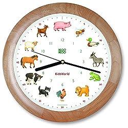 KOOKOO KidsWorld Wood, Genuine Wall Clock with Natural Sounds, 12 Farm Animals, Illustrations by Monika Neubacher-Fesser, Large 34cm/13,4in Clock with Light Sensor