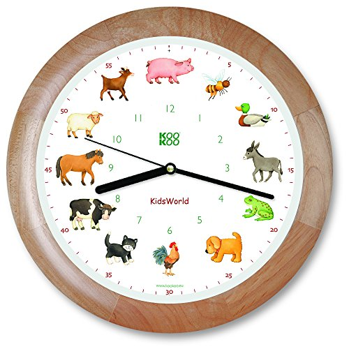 KOOKOO KidsWorld Wood, Genuine Wall Clock with Natural Sounds, 12 Farm Animals, Illustrations by Monika Neubacher-Fesser, Large 34cm/13,4in Clock with Light Sensor - Farm Animal Wall