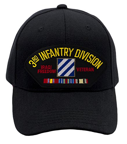 Patchtown 3rd Infantry Division - Iraqi Freedom Veteran Hat/Ballcap (Black) Adjustable One Size Fits ()
