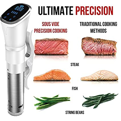 Huanyu 1800W Sous Vide Precision Cooker Vacuum Slow Cooker IPX7 Handheld Immersion Circulator with LCD Digital Display White