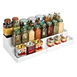 mDesign 3-Tier Expandable Spice Rack Cabinet Organizer for Kitchen - White