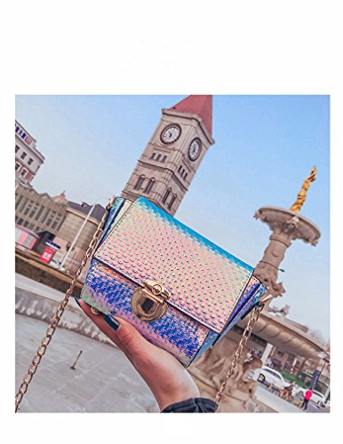 Crossbody Small Iridescent Shoulder Purse Marchome for Bag Purple Pu Women Leather Holographic xIXIqO7