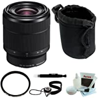 Sony SEL2870 FE 28-70mm f/3.5-5.6 OSS Full Frame Lens + Tiffen 55mm UV Protector + Small Neoprene DSLR Camera Lens Pouch + Focus 5 Piece Deluxe Cleaning and Care Kit + Deluxe Accessory Kit