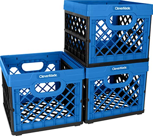 CleverMade Collapsible Milk Crates, 25L Plastic Stackable Storage Bins CleverCrates Utility Folding Baskets, Pack of 3, Blue