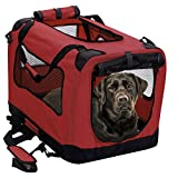 2PET Foldable Dog Crate – Soft, Easy to Fold & Carry Dog Crate for Indoor & Outdoor Use – Comfy Dog Home & Dog Travel Crate – Strong Steel Frame, Washable Fabric Cover – XXLarge, Rawhide Red