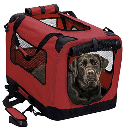 2PET Foldable Dog Crate - Soft, Easy to Fold & Carry Dog Crate for Indoor & Outdoor Use - Comfy Dog Home & Dog Travel Crate - Strong Steel Frame, Washable Fabric Cover - XXLarge, Rawhide Red ()