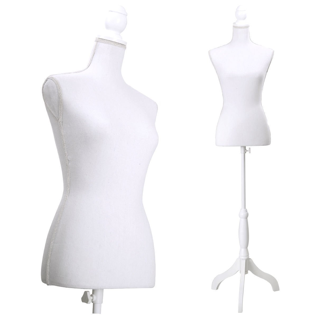 JAXPETY Female Mannequin Torso Clothing Display W/ White Tripod Stand New White by JAXPETY