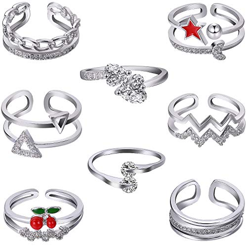 BBTO 8 Pieces Adjustable Knuckle Ring Open Toe Rings Various Types Knuckle Ring Set for Women and Men, Silver (Style 4)