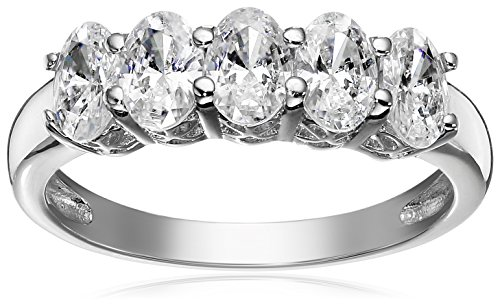 Platinum or Gold Plated Sterling Silver Oval-Shape 5-Stone Ring made with Swarovski Zirconia, Size 9