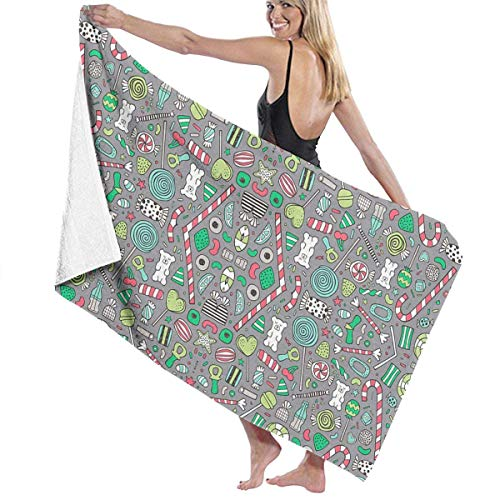 Makayla Riley Wrap Towel Candy Sweets Sugar Junk Pattern Beach Pattern Towels Ultra Absorbent & Fast Drying Microfiber Towel,Soft 31 in X51 ()