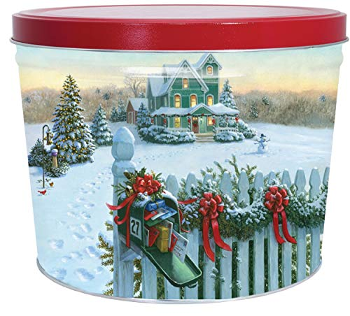 C.R. Frank Popcorn - Gourmet Popcorn Tin, 2 Gallon, Christmas Mail (3 Way Butter, Cheese, and Caramel)