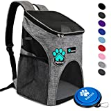 PetAmi Premium Pet Carrier Backpack for Small Cats and Dogs | Ventilated Design - Safety Strap - Buckle Support | Designed for Travel - Hiking & Outdoor Use (Heather Gray)