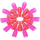 eBoot Acrylic Nail Art Soak Off Clips Caps UV Gel Nail Polish Remover Wrap Tool, 20 Pieces (Pink and Rose Red)