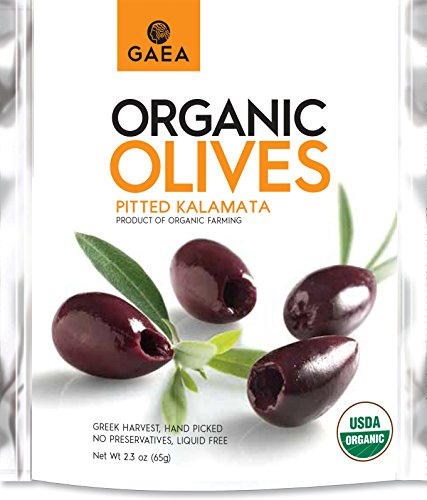 (Gaea Organic Snack Pack Pitted Kalamata Olives with Sea Salt and Vinegar - 2.3 oz (Pack of 8) …)