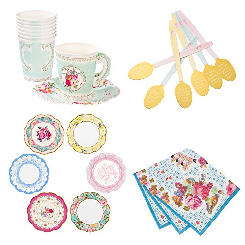 Talking Tables Truly Scrumptious Bundle For Tea Parties & Weddings | Vintage Floral Paper Plates, Napkins, Teacup & Saucer Set & Spoon (Afternoon Tea Plate)