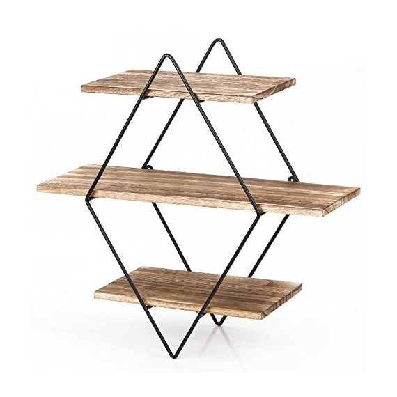 Homode Floating Shelves, 3 Tier Geometric Diamond Wall Shelves, Wood and Metal Art, Rustic Farmhouse Decor - The metal and wood shelf is uniquely different from the other giving it a rustic yet contemporary look perfect for any home. Geometric diamond shape shelves look aesthetically pleasing and perfect for organizing and displaying picture frames, books, vases and decor. Each piece is made from high quality stained wood and finished with metal galvanized brackets. - wall-shelves, living-room-furniture, living-room - 51DQbLJ9 NL. SS570  -