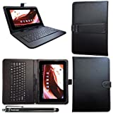 iTechCover® FUSION5 FINITE4 Tablet Black Universal Range (10.1 Inch) Keyboard Case Leather Folio Wallet Cover Pouch With Desktop Stand & Capacitive Touch Screen Stylus Pen