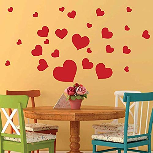 Removable Red Hearts Wall Decals for Kids Room Decoration +