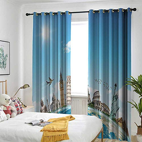 one1love Adventure Begins Decorations Collection Living Room/Bedroom Window Curtains Famous Monuments of Pisa Taj Mahal Giza Pyramids Paris Design Simple Stylish 108