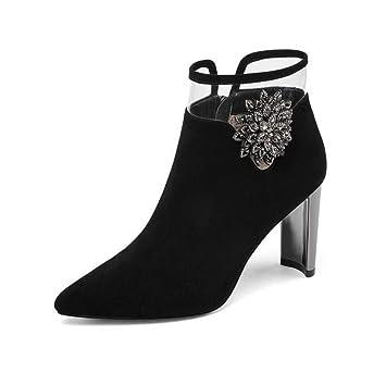 Hy Damenstiefeletten Herbst Winter Leder Spitzen Mode Stiefel