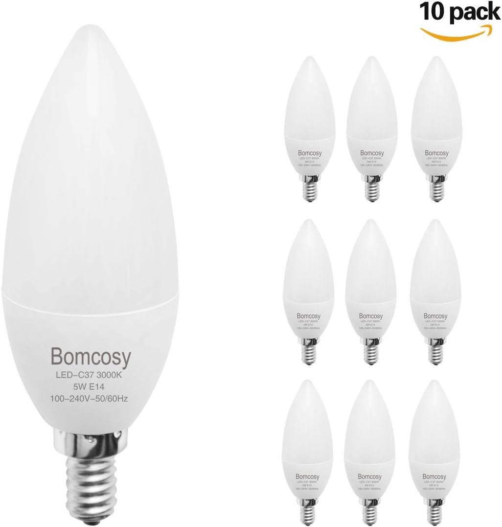 Bomcosy 5 W E14 LED de bombillas (10 Pack), C37 LED Torpedo vela bombillas, 40watt candelabro luces equivalente, luz calida 3000K, 400lumens, AC 100 - 240 V: Amazon.es: Iluminación