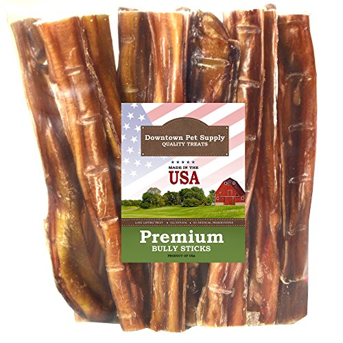 Downtown Pet Supply 6 Inch American Bully Sticks for Dogs Made in USA - Odorless Dog Dental Chew Treats, High in Protein, Alternative to Rawhides (6 Inch, 10 Pack) ()