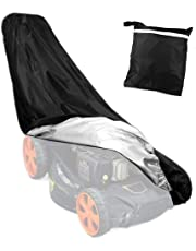Premium Lawn Mower Cover 1.93m x1.45m x1.12m Waterproof Dustproof All-Weather Outdoor/Indoor Anti-UV Protector 210D Heavy Duty Polyester Coated Protective Cover Tarp with Draw String & Carry Bag