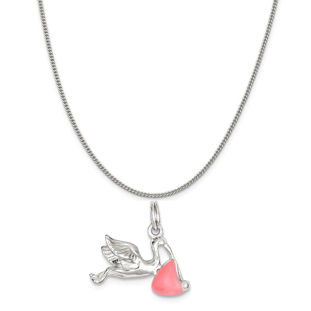 Mireval Sterling Silver Pink Enamel Polished Stork Charm on a Sterling Silver Chain Necklace 16-20