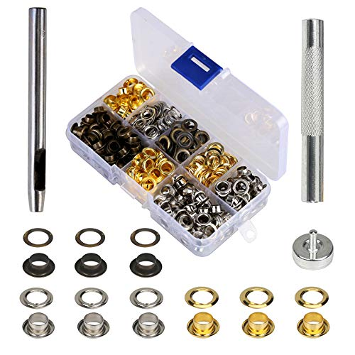 MEZOOM Grommet Kit 200 Set 1/4 Inch Inside Diameter Grommet Setting Tool Metal Eyelets with Storage Box for Shoe Clothes Leather Crafts,DIY ()