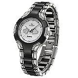 Kingsky Gold Women's Watches with Rhinestones Metal Band 10M Waterproof Quartz Wristwatch 5189 (Silver Black)