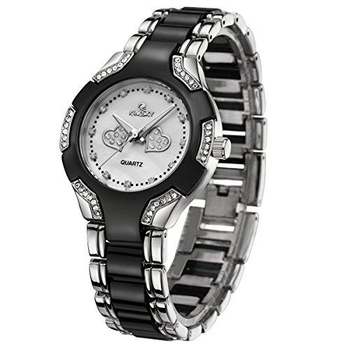 Kingsky Gold Women's Watches with Rhinestones Metal Band 10M Waterproof Quartz Wristwatch 5189 (Silver (Band Rhinestone Ladies Watch)