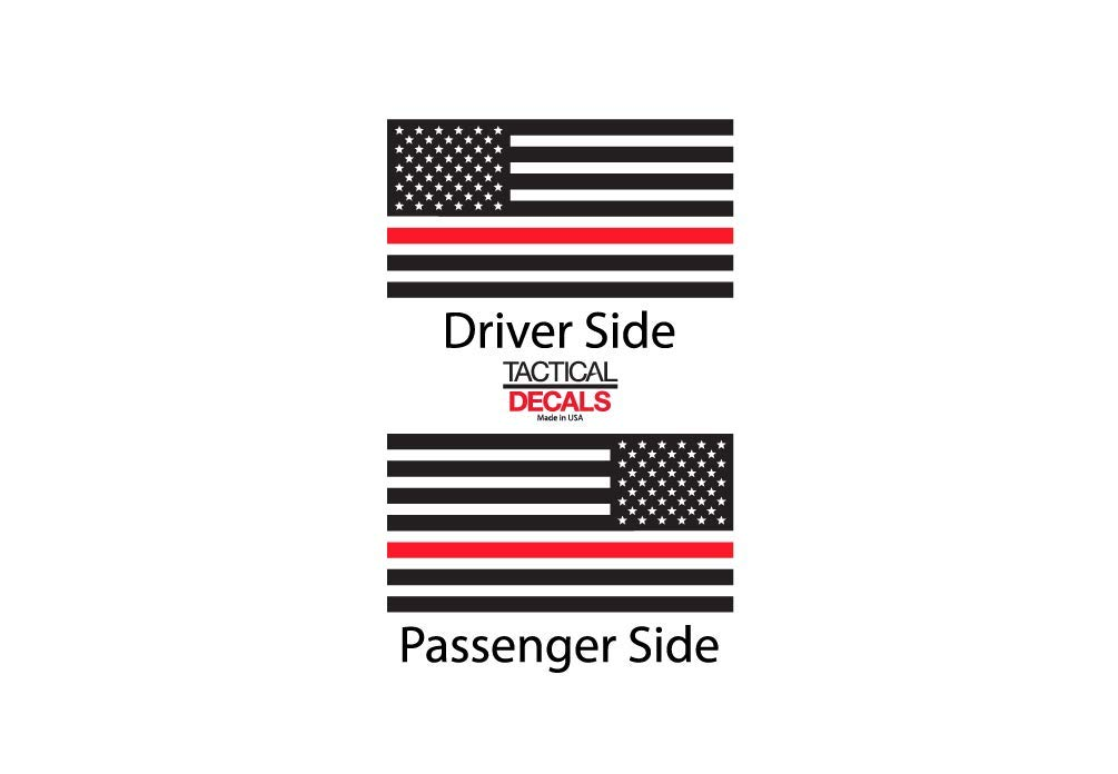 TF3R.A Toyota 4Runner Thin Red Line American Flag Decals in Matte Black for side windows