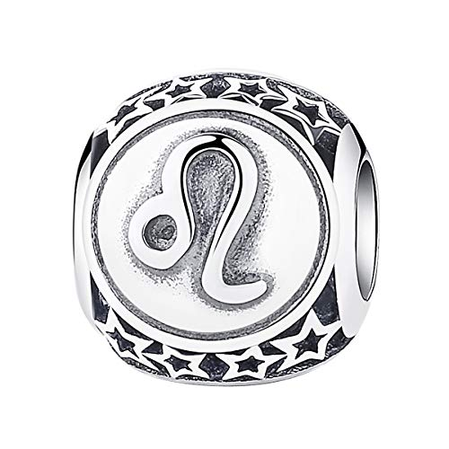 - Leo Zodiac Sign Charm fit Pandora Charms Bracelet, 925 Sterling Silver Plated Platinum Bead Charm 12 Horoscope Constellation Charm for US European Bracelet and Necklace, Birthday Gifs BJ09029
