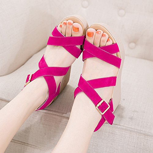 KHSKX-Cuñas Sandalias Femeninas Muffin 9 Cm De Fondo Grueso Impermeable Zapatos De Tacones De Boca De Pescado Pink