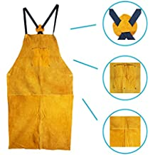 Leather Blacksmith Apron, Fire Resistant Welding/Welder Smock, 24 x 42 Inch, Large, 2 Pockets, X Strap, Kevlar Stitching, Accessory For Blacksmithing, Carpentry, Torch Work, Roofing, Woodworking