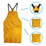 Leather Welding Apron, Fire Resistant Welder Smock, 24 x 42 Inch, Large, 2 Pockets, X Strap, Kevlar Stitching, Accessory For Blacksmithing, Carpentry, Torch Work, Roofing, Woodworking