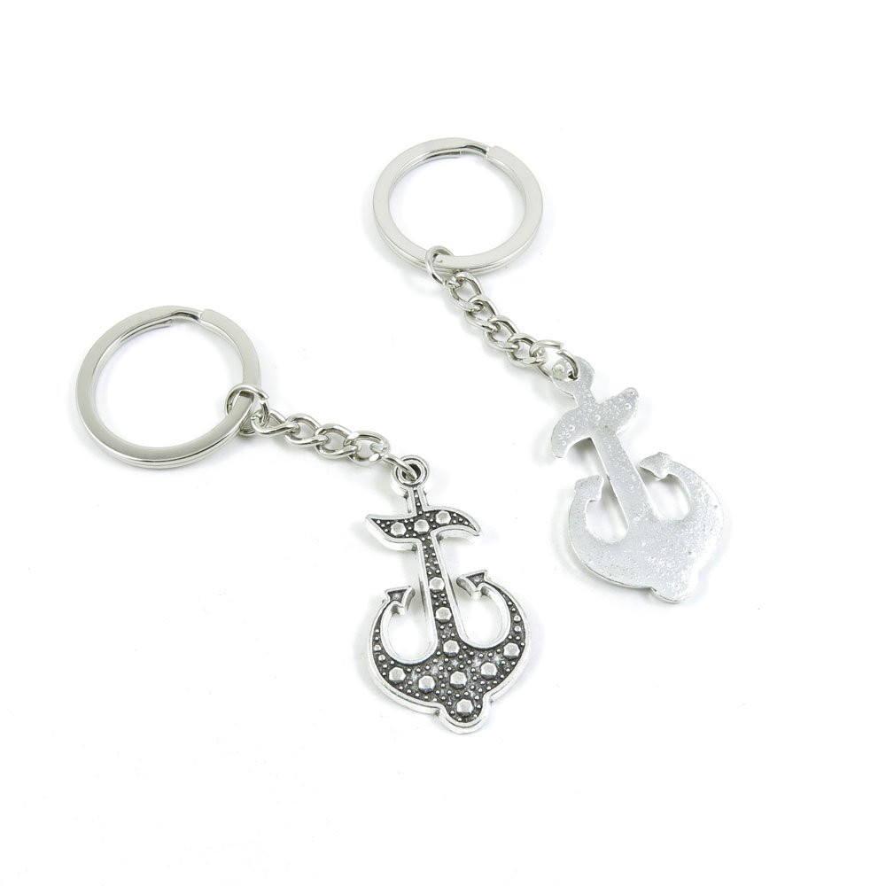 100 Pieces Keychain Door Car Key Chain Tags Keyring Ring Chain Keychain Supplies Antique Silver Tone Wholesale Bulk Lots D1QA6 Boat Anchor