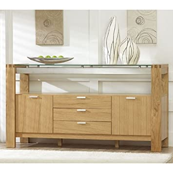 Arturo Solid Oak   Glass Sideboard  PT29721   Amazon.co.uk  Kitchen   Home 92c9d89f7