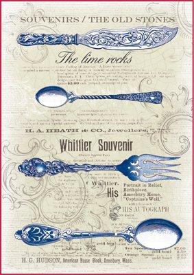 Paper Moon - Decoupage - Carta di riso A4 Blue Posate vintage ...