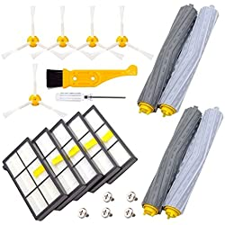 DerBlue Replacement Parts for iRobot Roomba 860 880 805 860 980 960 Vacuums, with 5 Pcs Hepa Filter, 5 Pcs 3-ArmedSide Brush, 2 Set Tangle-Free Debris Rollers