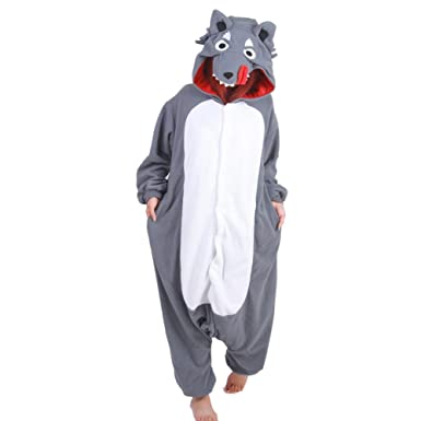 Tri-Better Grey Wolf Onesie Pajamas Hooded Kigurumi Unisex Cosplay Costumes