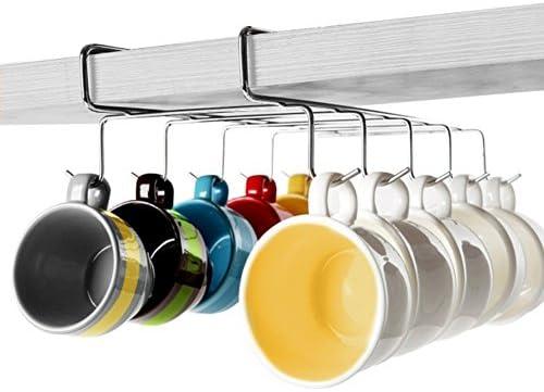 Up taza | taza de 2 piezas polivalente under-the-shelf que ahorra espacio organizador de soporte para colgar con 10 ganchos de acero inoxidable | Durable, ...