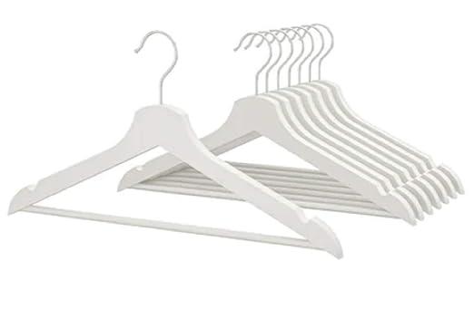 Ikea Bumerang - Perchas de Madera para Ropa, 8 Unidades, Color Blanco