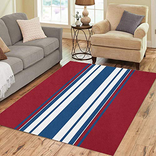 Pinbeam Area Rug Navy Abstraction of White Blue and Red Stripes Home Decor Floor Rug 2' x 3' Carpet